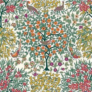 Liberty Orchard Garden Collection Green Pheasant Garden Fabric 0.5m
