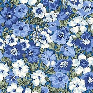 Liberty Orchard Garden Collection Blue Peach Bloom Fabric 0.5m