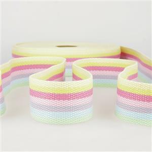 Webbing Multi-Coloured Pastel Stripes 40mm (1m)