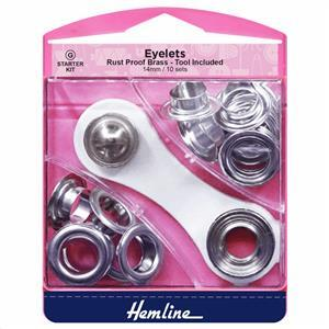 Ten Silver Eyelets Starter Kit 14mm