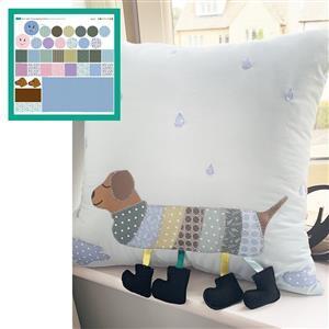 Vintage Caterpillar & Dog Duo Storage Cushion Kit: Instructions, Fabric Panel, Fabric (1m) & Felt
