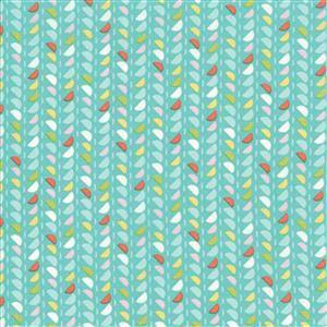 Moda Fine & Sunny Bubblegum Leaf Motif Fabric 0.5m