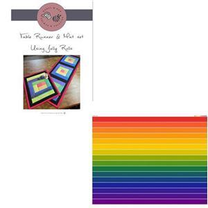 Mabel & Deb Rainbow Table Runner and Mat Kit: Instructions & Fabric Panel