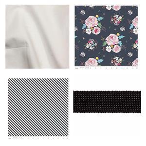 Riley Blake Navy Pleated Tote Bag Kit: Instructions, Fabric (1.5m) & Webbing