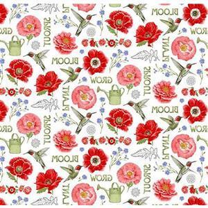 Poppy Meadow on White Fabric 0.5m