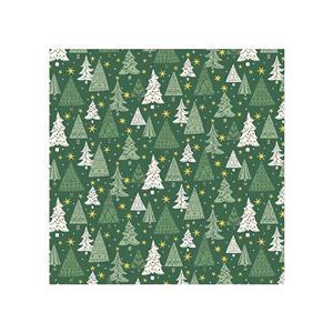 Liberty Festive Season Christmas Trees on Green Fabric 0.5m