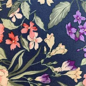Country Floral Multi Flowers on Blue Fabric 0.5m Exclusive
