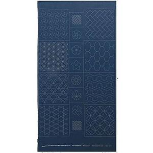 Sashiko Tsumugi Preprinted Geo 19 Indigo Blue Fabric Panel 108x61cm