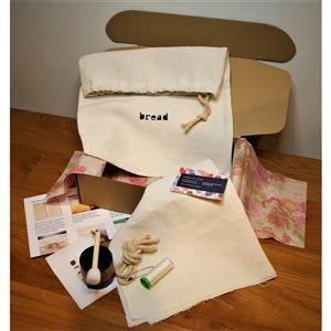 Julie Kelly's Linen Bread Bag Sewing Kit with Iron-on Stencil and Paint