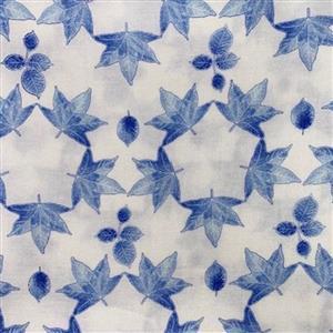Lapis Leaves 3 White Fabric 0.5m