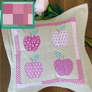 Sallieann Quilts Pink Apple Cushion Kit: Instructions, Fabric Panel & Fabric (1m)