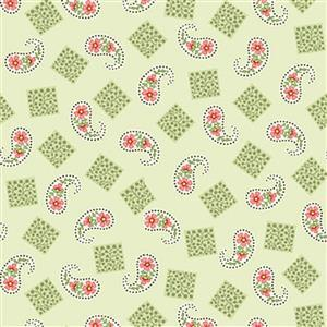 Henry Glass Violets Garden Paisley Sage Fabric 0.5m