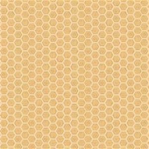 Lewis & Irene Queen Bee Honeycomb On Gold Fabric 0.5m