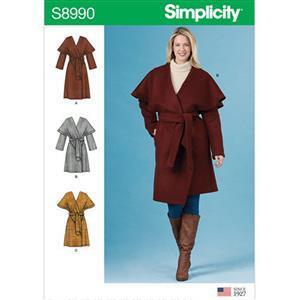 Simplicity Misses' Wrap Coat Size 16-24