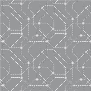 Lewis & Irene City Nights Underground Silver Fabric 0.5m