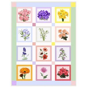 Flowers of the Year Quilt Kit: 12 x Flower Panels, Binding Panel & Instructions