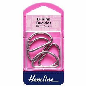 D Rings: 25mm: Nickel: 4 Pieces
